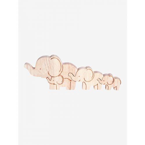 Familia de Elefantes de madera