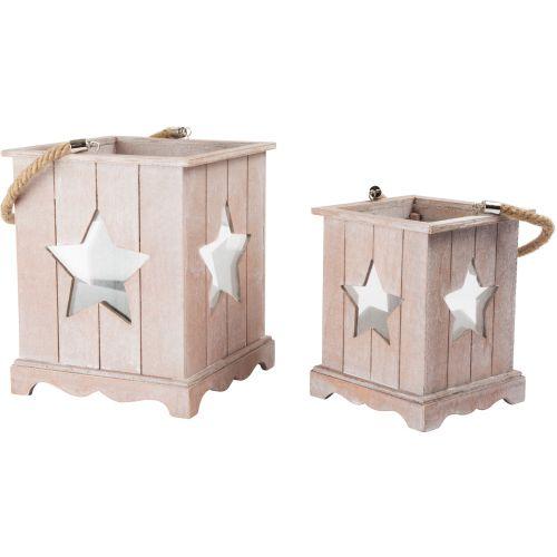 Farolillo de madera para Navidad Shabby Chic