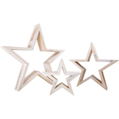 Figura decorativa Estrellas de madera Blancas