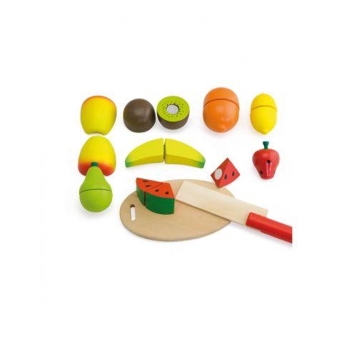 Frutas de Madera con Tabla de Cortar