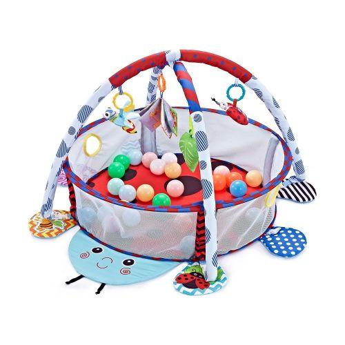 Gimnasio de actividades para Bebes, Piscina de Bolas Ladybug Kikkaboo , Incluye 30 bolas