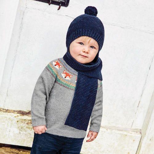 Gorro con bufanda para Niño en color Azul Marino