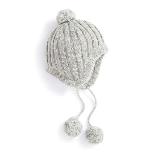 Gorro de lana para Niños con Pompones color gris