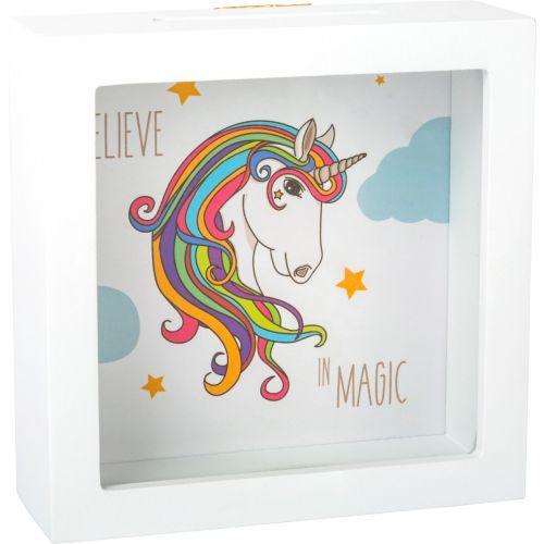 Hucha en marco Unicornio - 15 x 15 x 5 cm
