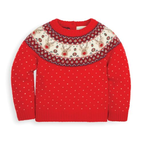Jersey Rojo de Lana para Niño Renos