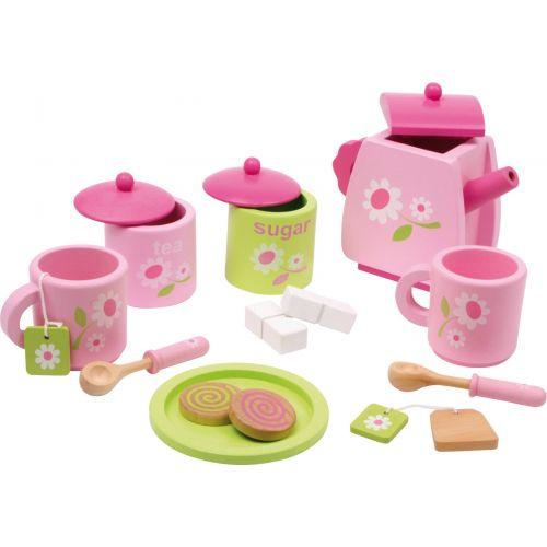 Juego de té con motivo floral - 17 piezas - Juguete de madera