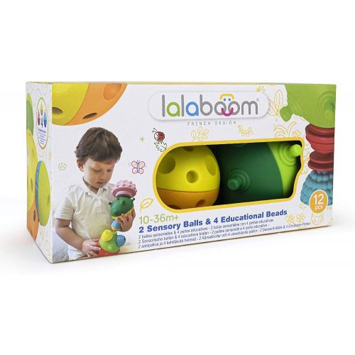 Lalaboom 2 Bolas sensoriales y 4 Perlas , Juguete Montessori