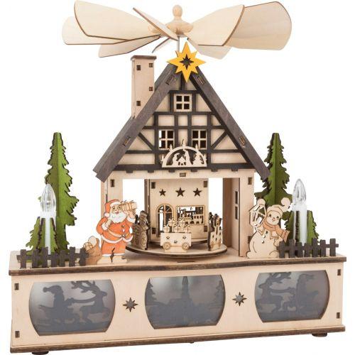 Lámpara de madera con pirámide de Navidad