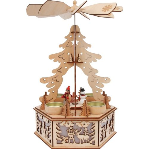 Lámpara de madera Pirámide Invernal , 23 x 23 x 32 cm