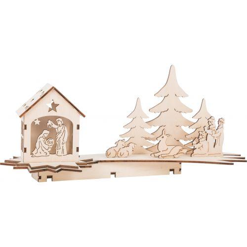 Lámpara de madera Escena de Navidad