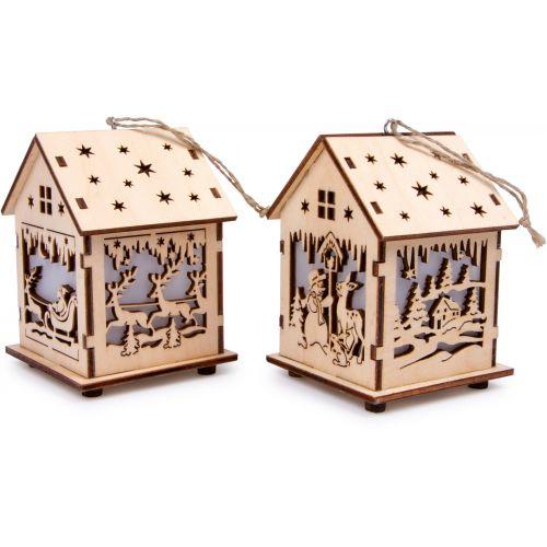 Lámpara Navideña de madera Casa , 2 unidades