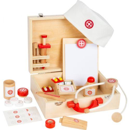 Maletín de médico madera natural - 24 piezas