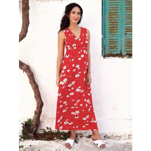 Maxi Dress Premama  y Lactancia Rojo Floral