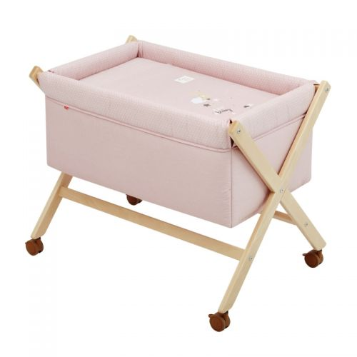 Minicuna Tijera Madera Natural Be Moon rosa Cambrass
