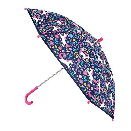Paraguas Niña Unicornios Cambia de Color con la Lluvia