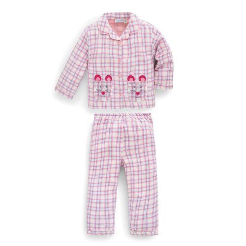 Pijama Niña Clásico cuadros rosas con bolsillo - Ratón