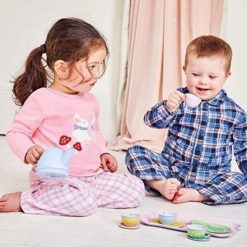 Pijama para niña Rosa Conejitos y Cuadros - Manga Larga