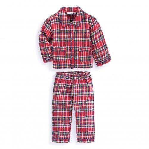 Pijama para Niño Clásico Cuadros Rojos - Manga Larga