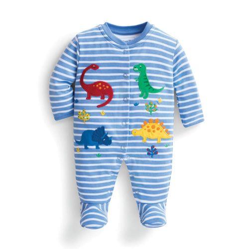 Pijama Bebé a Rayas Azules de Dinosaurios
