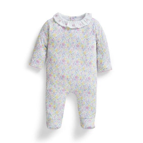 Pijama Bebé Estampado Flores Cuello Volante