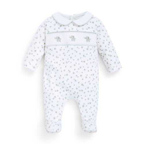 Pijama Blanco para Bebé Elefantes