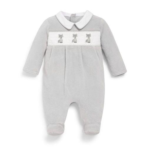 Pijama para Bebé de Terciopelo Plateado Zorrito