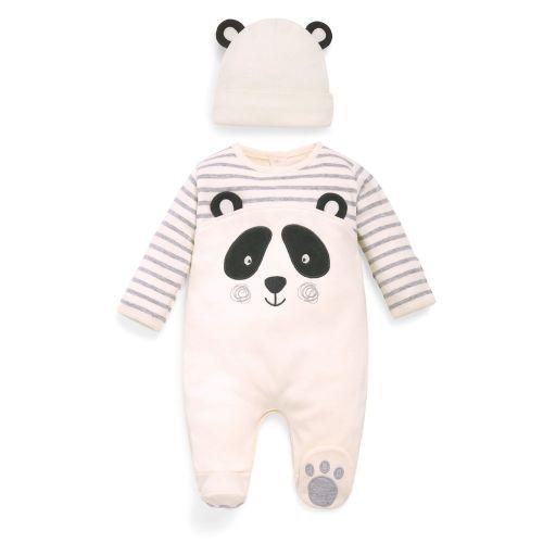 Pijama y Gorrito para Bebé Panda - 2 Piezas
