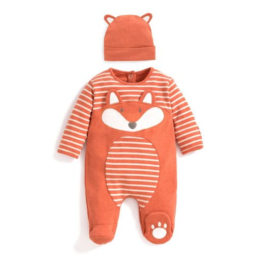 Pijama y Gorrito para Bebé Zorro Naranja - 2 Piezas