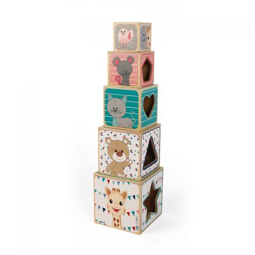Pirámide de 5 cubos de madera Sophie la Girafe , Janod