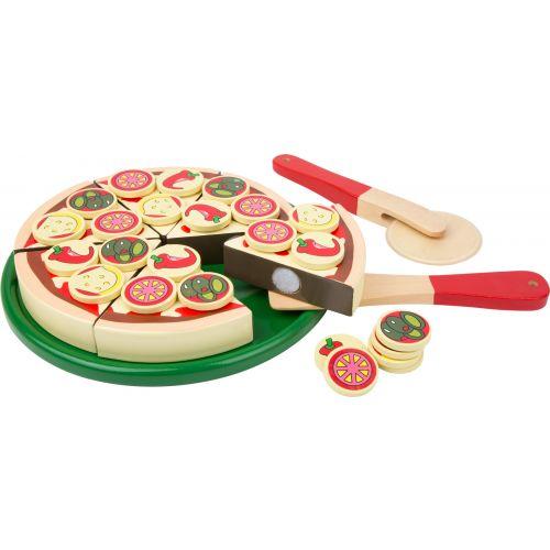 Pizza y cortador - Juguete de madera - 34 piezas