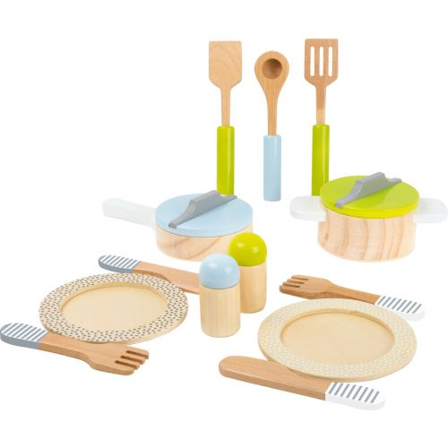 Set de Platos, Ollas y cubiertos - Juguete de madera - 15 piezas