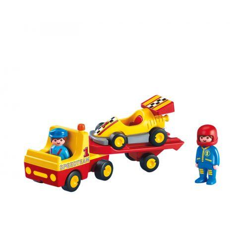 Playmobil 1.2.3 Coche Carreras con Transporte