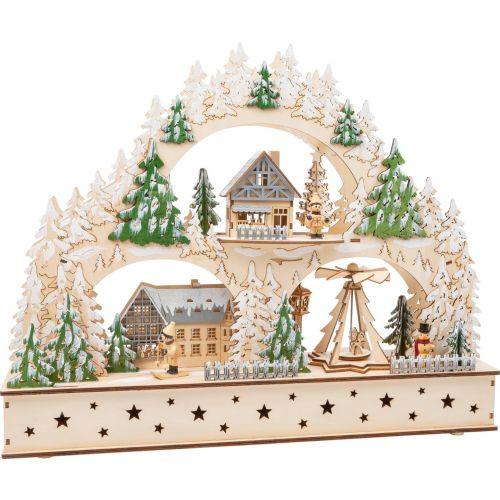 Pueblo de invierno de madera con arco luminoso , 50 x 11 x 39 cm