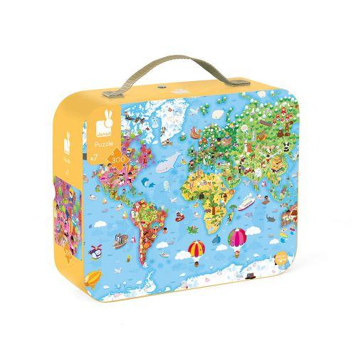 Puzle gigante Atlas Mundial 300 piezas, Janod