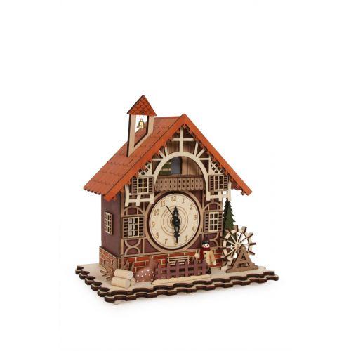 Reloj de madera entramado , 23 x 14 x 24 cm