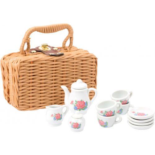 Servicio de Café de porcelana en cesta
