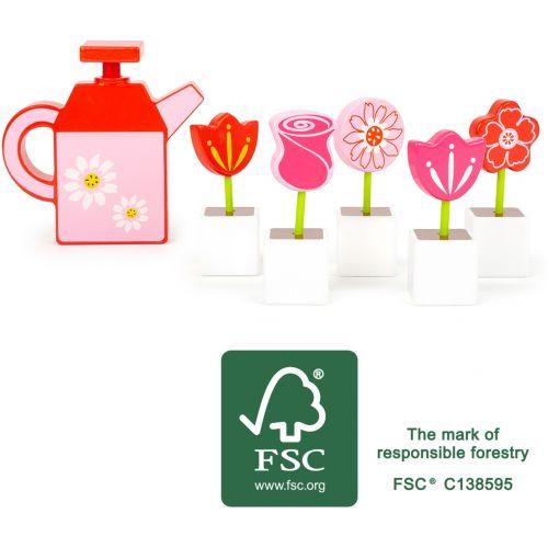 Set de flores con regadera , juguete de madera , 11 piezas