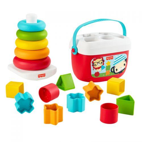 Primer Set de regalo Ecológico Fisher Price , 2 juegos , pirámide balanceante y Bloques Infantiles