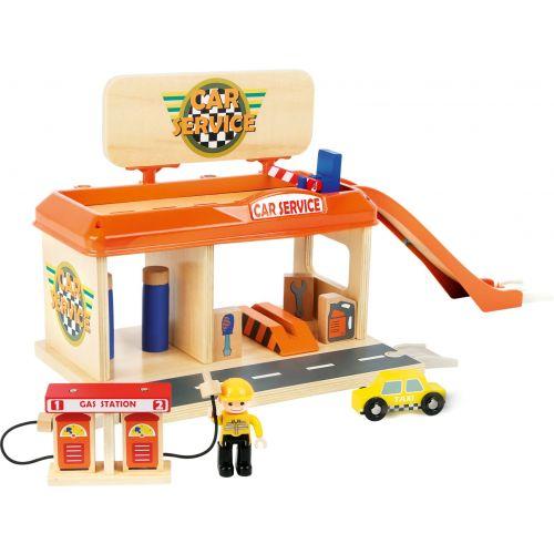 Taller mecánico con gasolinera de madera - Legler  - 13 piezas