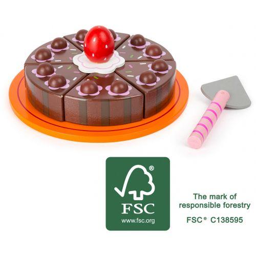 Tarta de chocolate para cortar, juguete de madera , 9 piezas