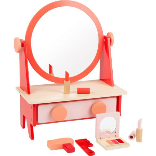 Tocador retro con espejo , juguete de madera. Incluye 9 piezas