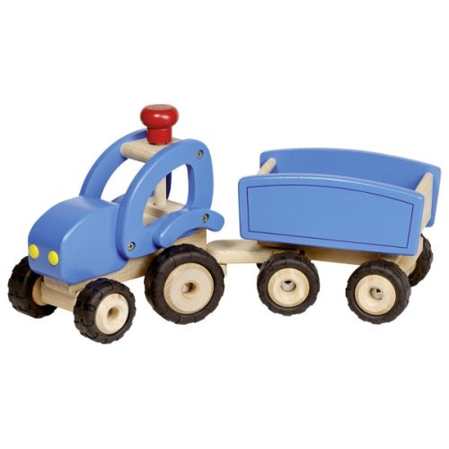 Tractor azul con remolque , Goki