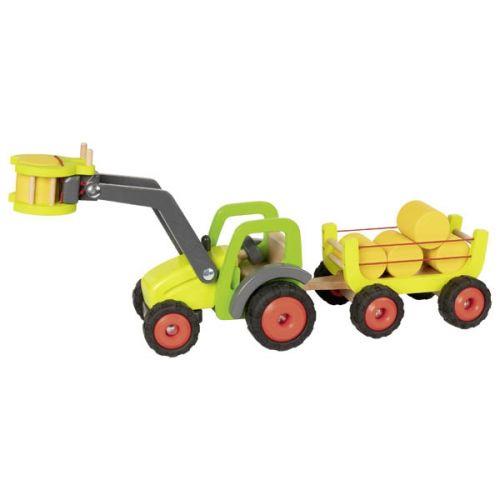 Tractor con carga delantera y vagón (con balas de paja)