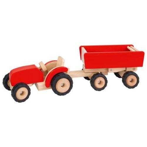 Tractor rojo con remolque , Goki