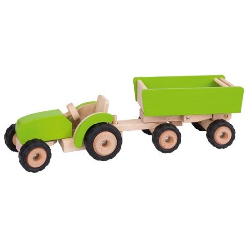 Tractor verde con remolque , Goki