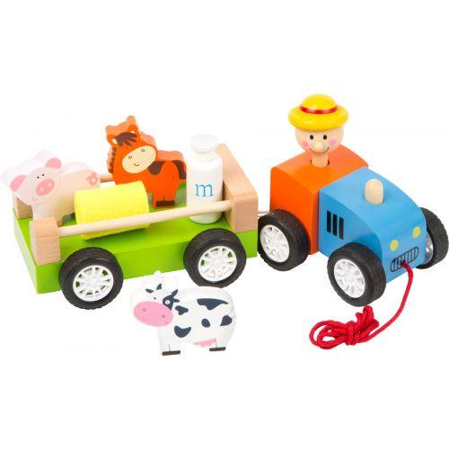 Tractor de madera, Granjero con animales - Legler