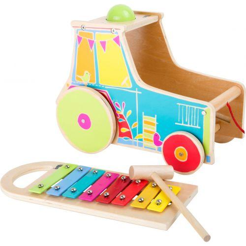 Tractor de madera , juguete de Motricidad, incluye Xilófono