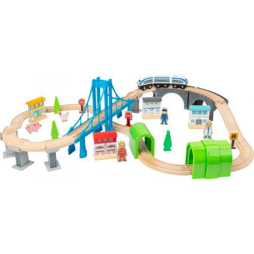 Tren de madera XL con puente colgante