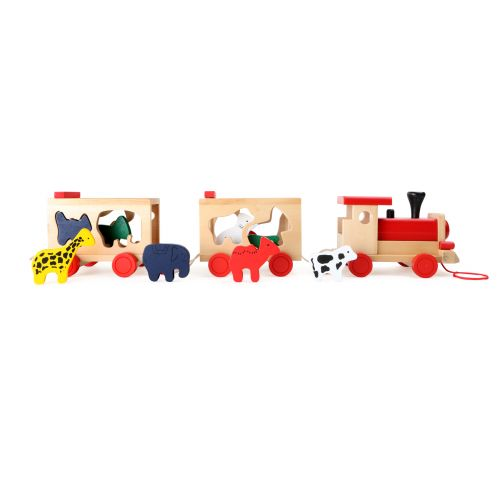 Tren de madera con animales - Juguete de encaje