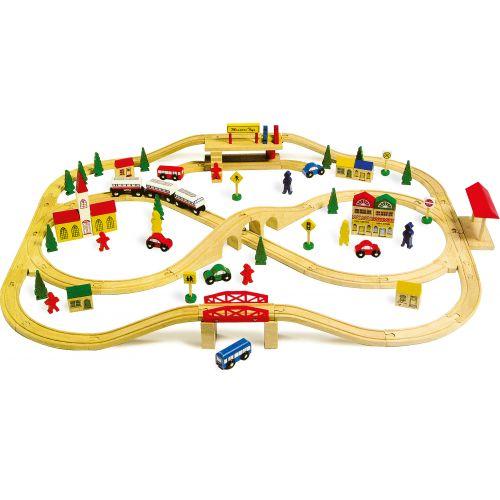 Tren de madera con Puentes Elevados - Legler - 101 Piezas